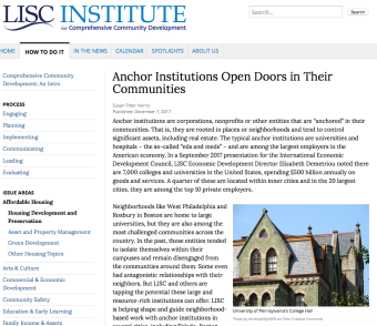 LISC Article _Anchor Institutions